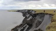 Ein Kliff in der sibirischen Arktis mit Überresten von Moorgebieten.