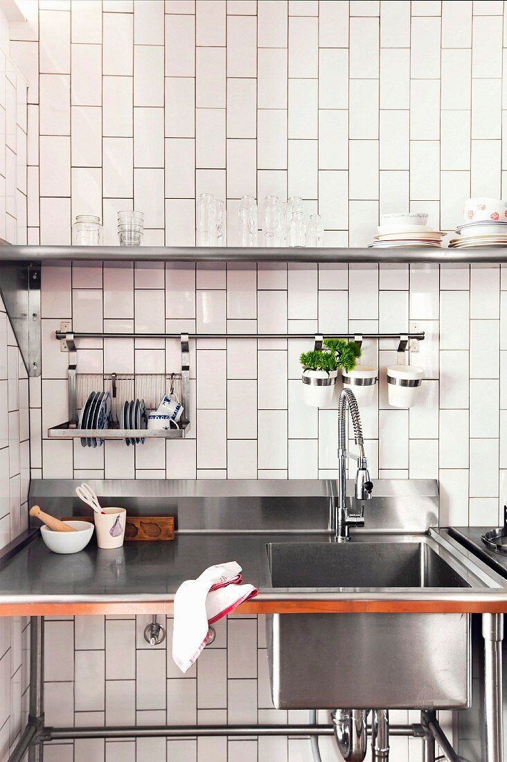 https www living4media com images 11250430 freestanding stainless steel kitchen element with sink