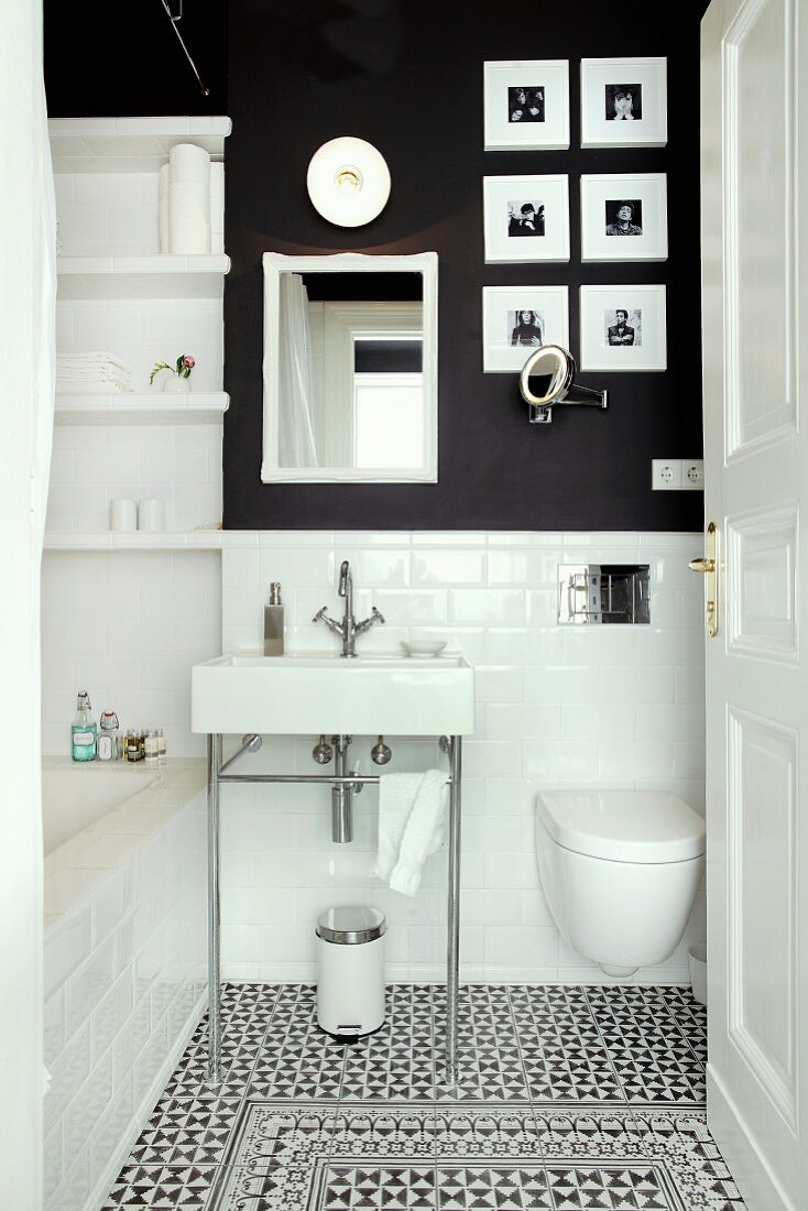 https www living4media com images 11337264 small bathroom with subway tiles charcoal wall and decorative floor tiles