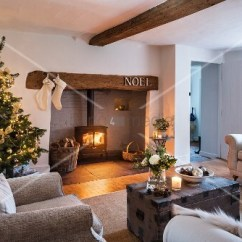 Cosy Living Room With Log Burner Studio Furniture Christmas Tree And Fire In Buy Image 12338806