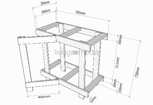 Making a wooden folding table (diagram with measurements