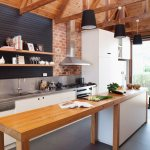Narrow Wooden Counter With Base Units In Buy Image 11271753 Living4media