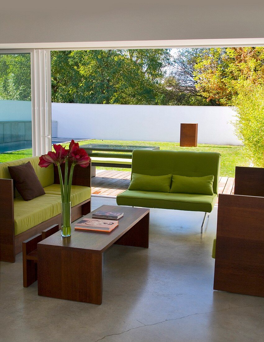 Sofa With Lime Green Cushions And Wooden Buy Image 11017917 Living4media