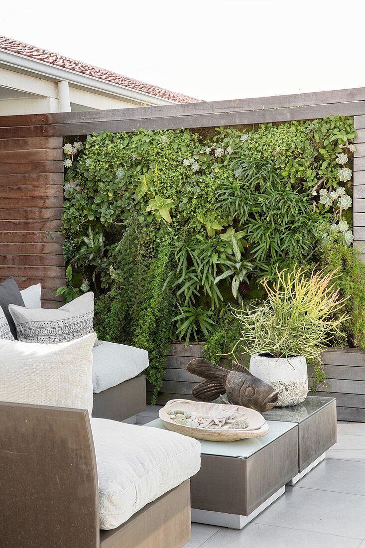 https www living4media com images 12415911 elegant outdoor furniture and green wall on terrace