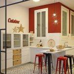Halboffene Kuche In Rot Weiss Und Bild Kaufen 12458445 Living4media