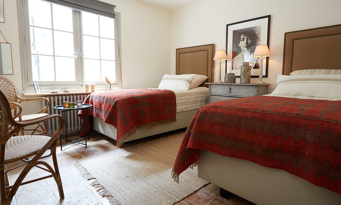 Twin Beds With Tall Headboards In Rustic Buy Image 12314847 Living4media