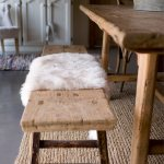 Fur Rug On Rustic Wooden Bench At Dining Buy Image 12677431 Living4media