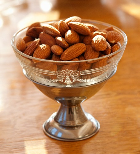 Almonds in an antique dish