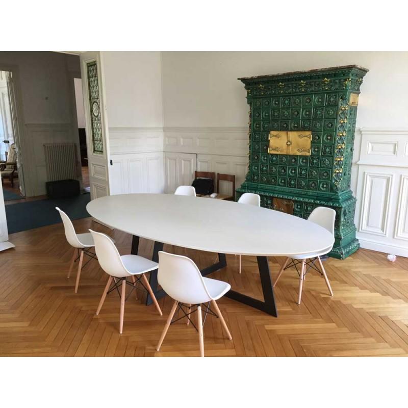 table de salle a manger en ceramique ovale blanche carat