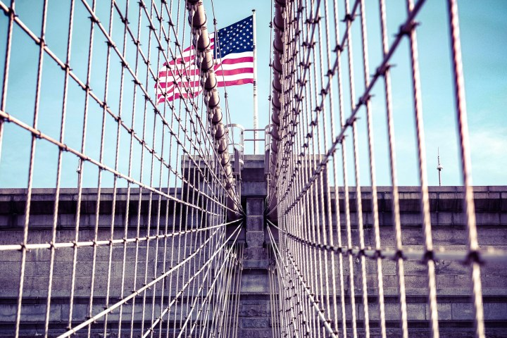 Parallel lines spotted while crossing the Brooklyn Bridge in New York - photo by Kevin Ahronson