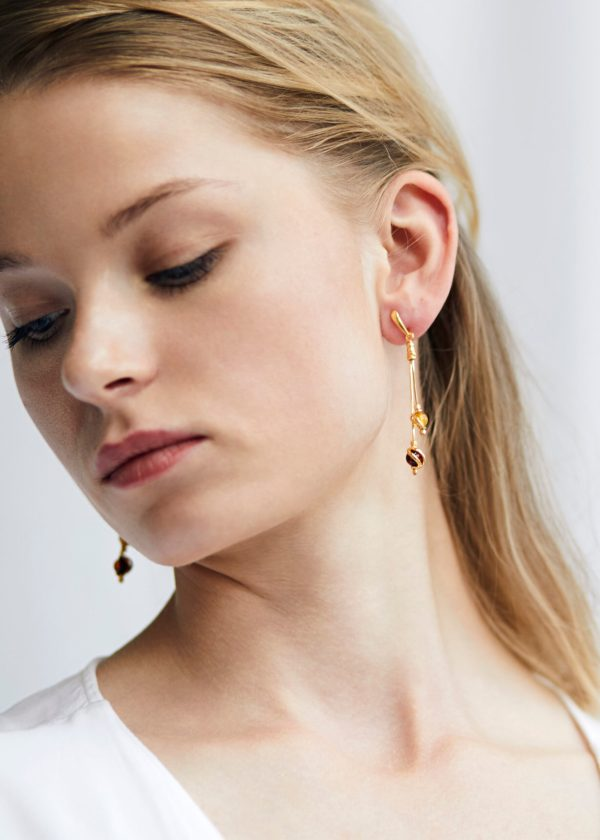 Gold earrings with Baltic amber 3