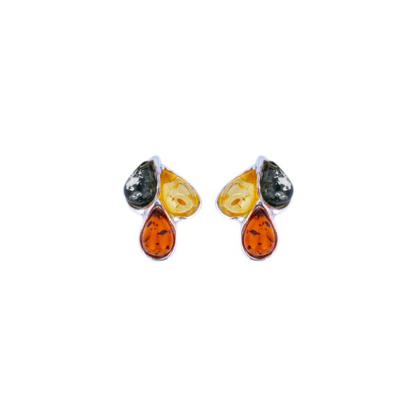 Silver stud earrings with mixed Baltic amber 1