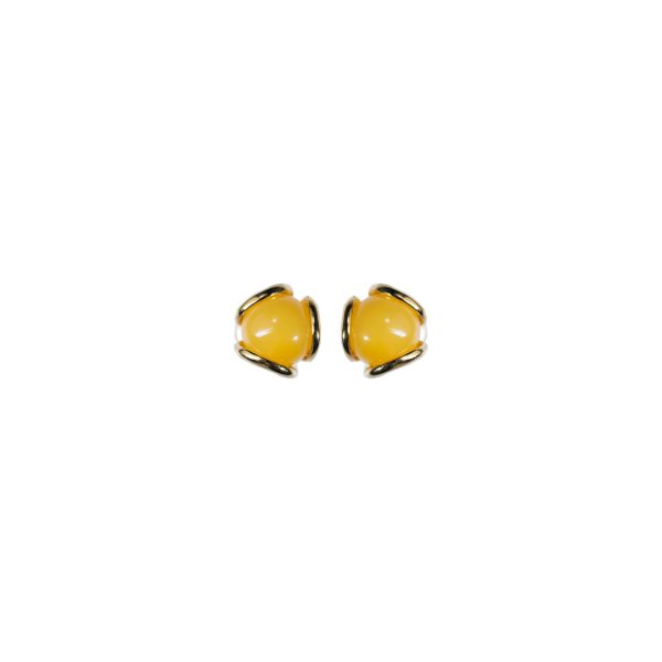 Gold stud earrings with milky amber 2