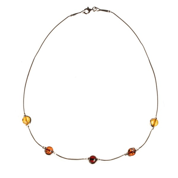 Silver necklace with genuine baltic amber