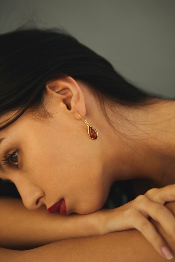 Gold-plated earrings with cognac Baltic amber