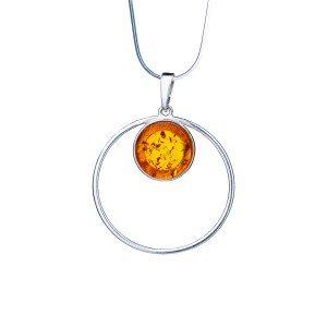 Silver necklace with genuine cognac amber