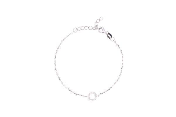 Silver bracelet with zirconia stones