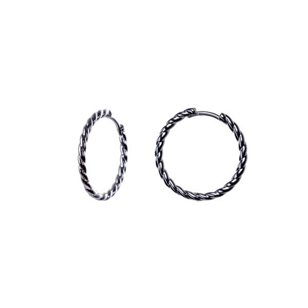 Silver braided earrings