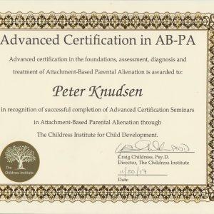 Ekspert in Foundations,assessment,diagnosis and treatment Attachment based parental alienation/ forældrefremmegørelse