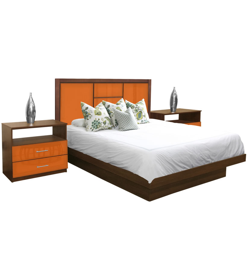 Broadway King Size Platform Bedroom Set 4 Piece  Contempo