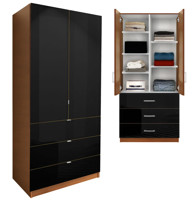 Alta Wardrobe Armoire  Adjustable Shelves 3 Drawers