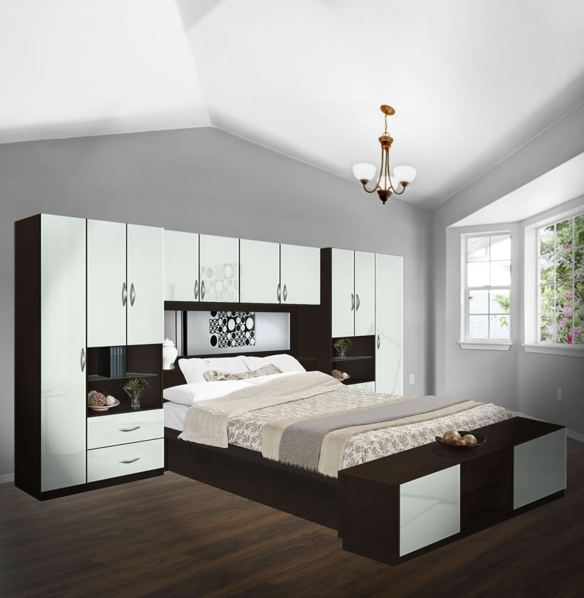 Lincoln Pier Wall Platform Bed w Mirrored Headboard