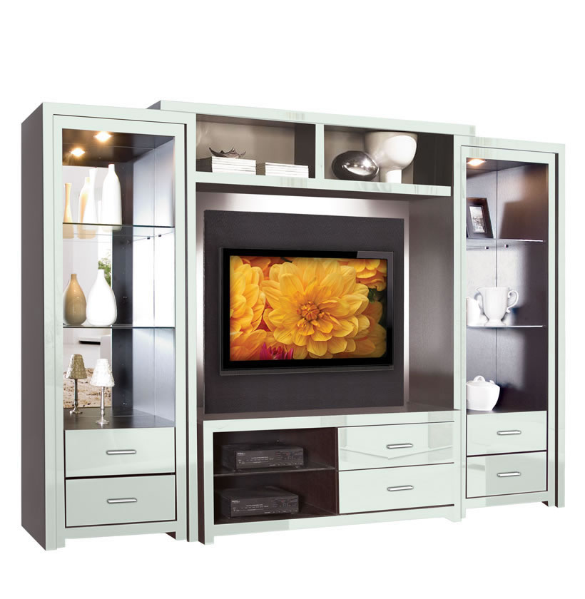 Savoy Wall Unit  Big Glass Shelves  Open Spaces