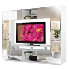 Living Room Glass Display Cabinets Decorations With Brown Furniture Tyler Wall Unit W Clear Doors, Interior Backlight ...