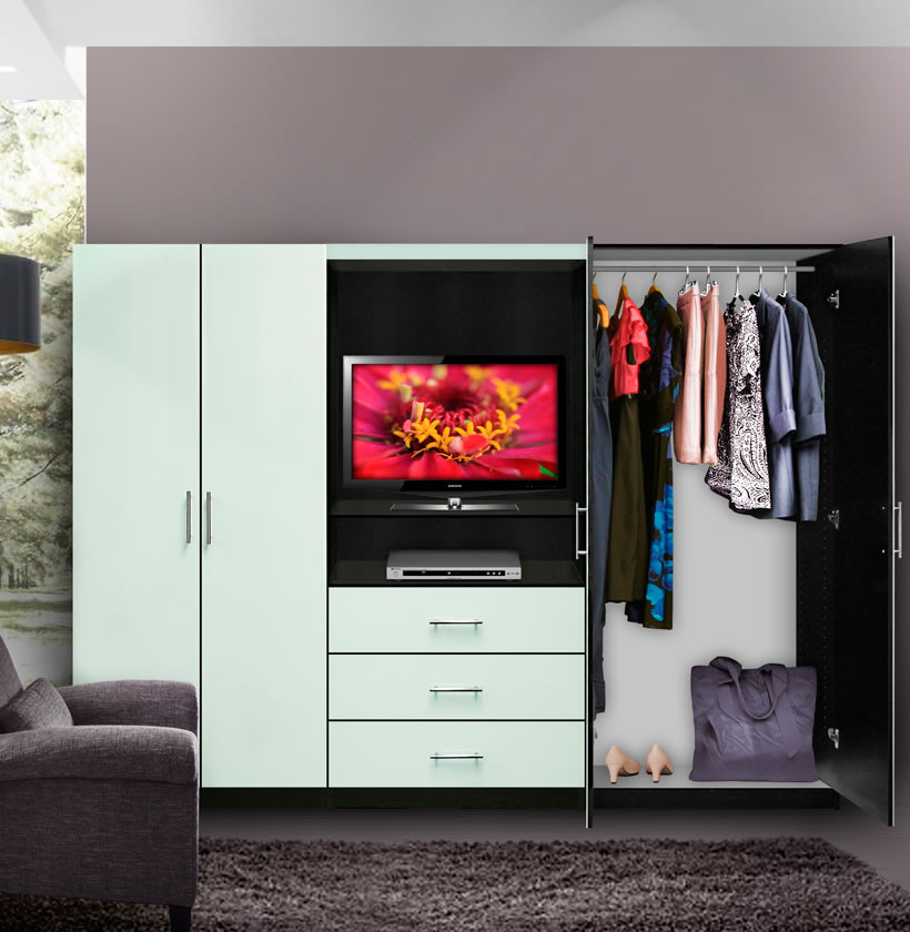 Aventa Bedroom Wall Unit  TV Unit w Drawers and Doors  Contempo Space
