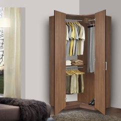 Black Wall Units For Living Room Furniture Set Under 400 Bella Corner Wardrobe - Closet W Three Hangrods ...