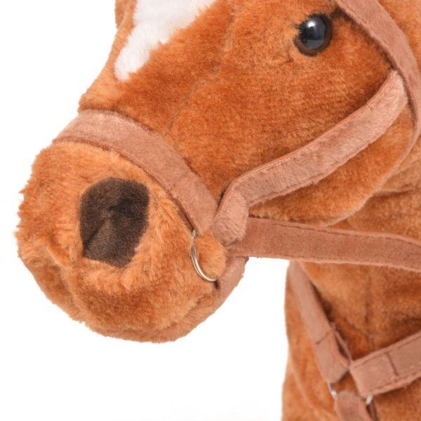 vidaXL Stående leksakshäst plysch brun
