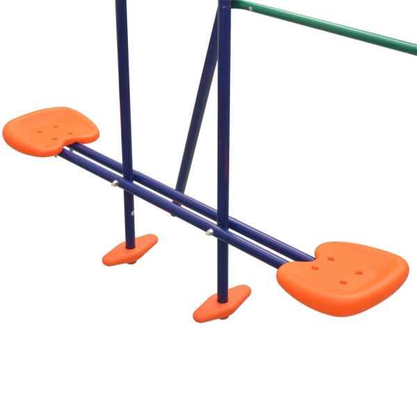 vidaXL Gungställning med rutschkana och 3 sitsar orange