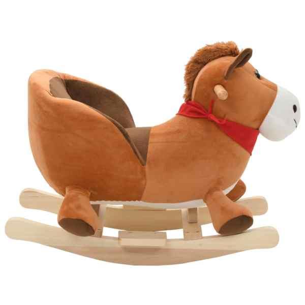vidaXL Gungleksak häst med ryggstöd plysch 60x32x50 cm brun