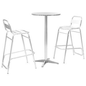 vidaXL Bargrupp 3 delar med runt bord aluminium silver
