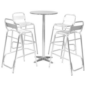 vidaXL Bargrupp 5 delar med runt bord aluminium silver