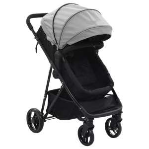 vidaXL 2-i-1 Sitt-/liggvagn grå och svart stål