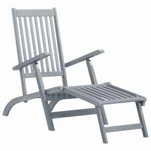 vidaXL Däckstol med fotstöd grå kalkfinish massivt akaciaträ