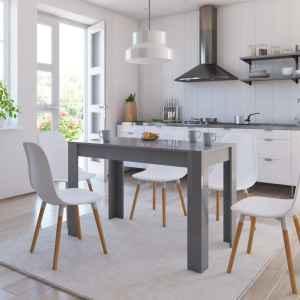 vidaXL Matbord grå högglans 120x60x76 cm spånskiva