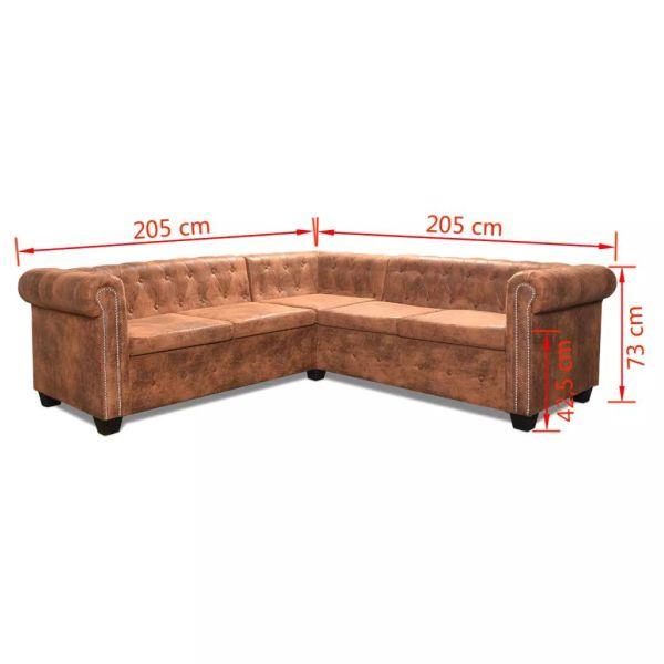 vidaXL Chesterfield 5-sitssoffa konstläder brun
