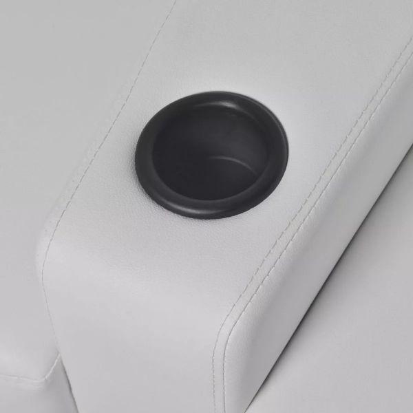 vidaXL 2 st Liggfåtöljer 2+3-sits med LED konstläder vit