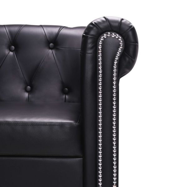 vidaXL L-formad Chesterfieldsoffa konstläder svart