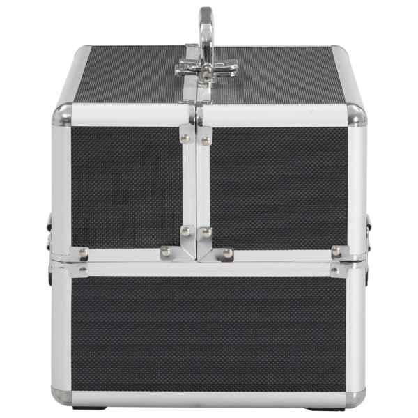 vidaXL Sminklåda 22x30x21 cm svart aluminium
