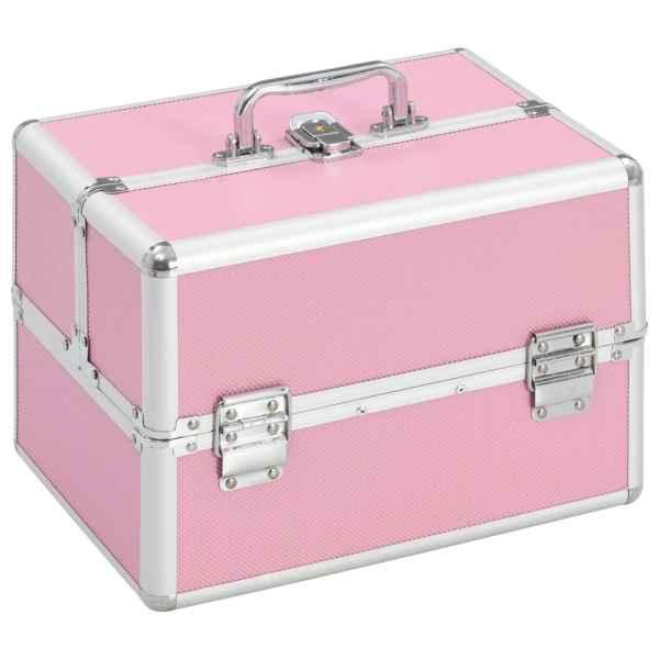 vidaXL Sminklåda 22x30x21 cm rosa aluminium