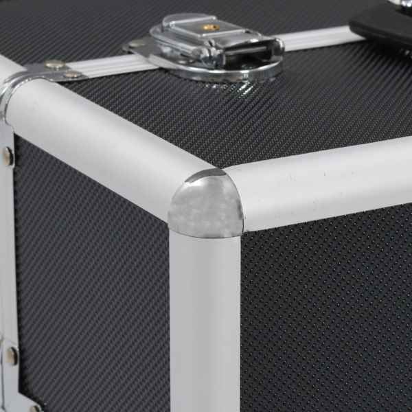vidaXL Sminklåda 37x24x35 cm svart aluminium