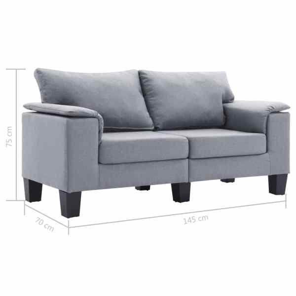 vidaXL 2-sitssoffa ljusgrå tyg