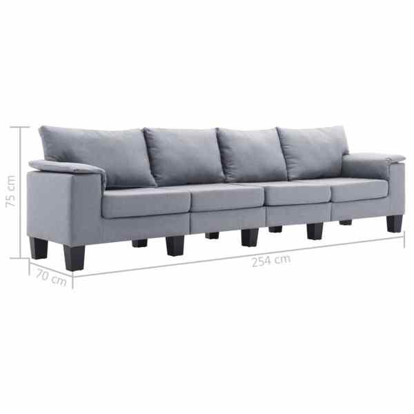 vidaXL 4-sitssoffa ljusgrå tyg