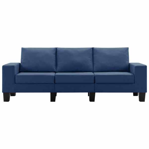vidaXL 3-sitssoffa blå tyg