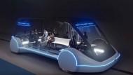 So stellt sich The Boring Company die Tram-Fahrzeuge vor, die im Hyperloop in Las Vegas fahren könnten.