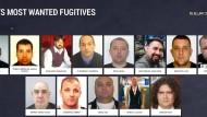 """Der Screenshot der Webseite von Europol, """"eumostwanted.eu"""", zeigt 13 von 19 der gefährlichsten Sexualstraftäter Europas."""