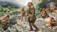 """Spielen mit den Raubtierschädeln, Wollnashörner grasen im Tal: So stellte sich der Maler Burian die Steinzeit in seinem Weltbestseller """"Menschen der Urzeit"""" 1977 dar"""